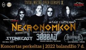 Kultinės thrash metal grupės NECRONOMICON europinis turas perkeltas į 2022 m.